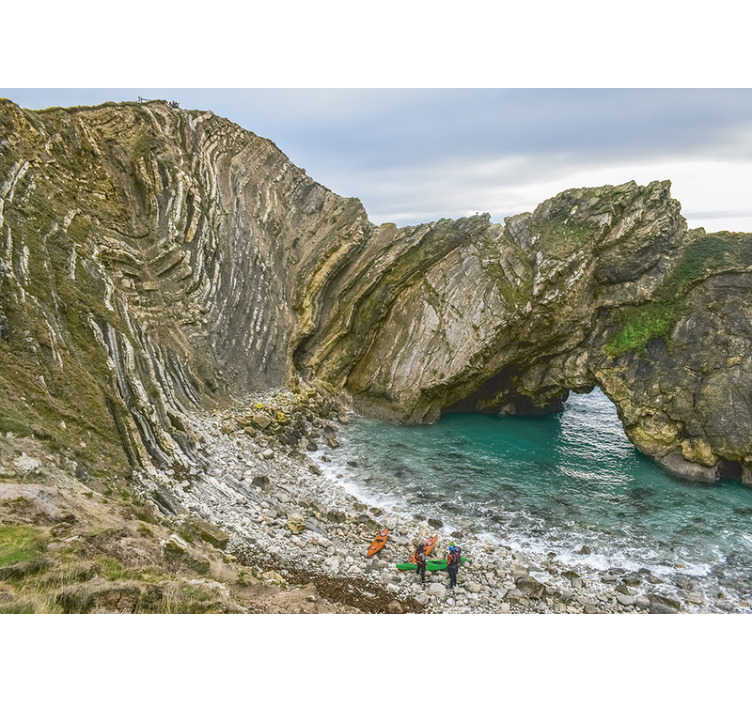 TenStickers. Lulworth cove mural wallpaper. A city cove  wall mural created with the huge scenery view of the cove near the village of west Lulworth. This design is amazing to beautify your home.