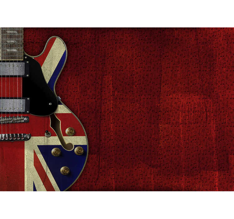 TenStickers. Union Jack guitar City wall mural. Large music wall mural design that is created with music notes and large guitar in red colour. This design will make a large impression in you home.