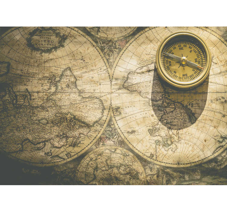 TenStickers. Vintage map vintage wall mural. A large world map wall mural design created with the huge appearance of a world map in brown colour that will create an amazement in your home.