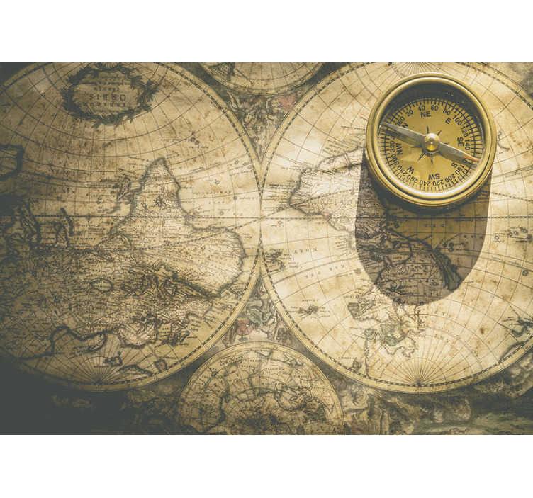 TenStickers. Vintage karta vintage zidni mural. Veliki zidni mural dizajn stvoren ogromnom pojavom karte svijeta u smeđoj boji koja će stvoriti čuđenje u vašem domu.