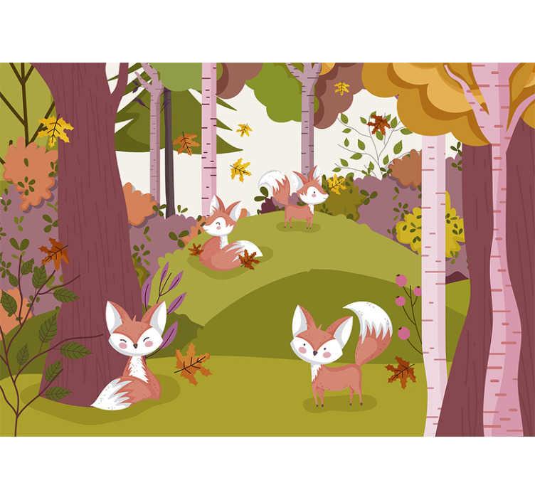 TENSTICKERS. 森林動物森壁画. あなたの家を飾ることができる動物の壁の壁画のある風景の森。このデザインは非常に高品質で、簡単に適用できます。