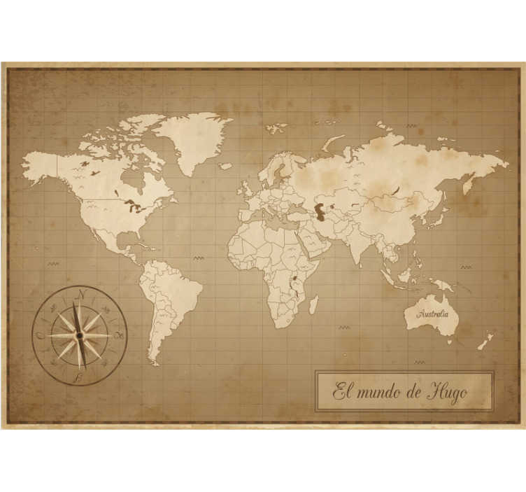 TenVinilo. Mural de pared mapamundi personalizable. Fantástico fotomural vintage mapamundi con brújula y nombre personalizable para que decores tu dormitorio a tu propio gusto. Fácil de colocar.