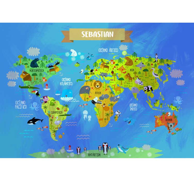 TenVinilo. Mural infantil mapamundi personalizable. Este mural infantil de pared del mapa del mundo con varios animales en él. ¡Es muy educativo y agradable al mismo tiempo! Haz felices a tus hijos