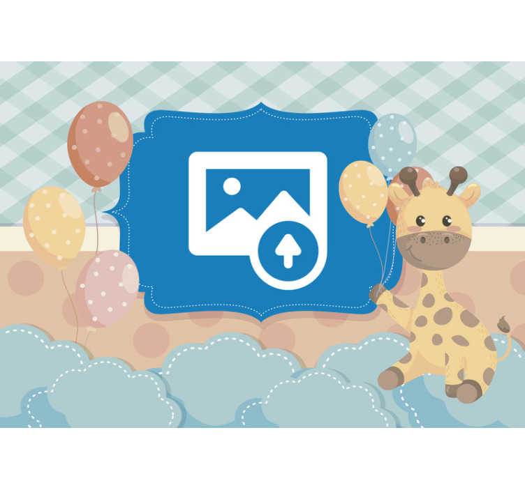 TenStickers. Newborn baby with giraffe Nursery Wall Mural. Nursery wallpaper to transform the picture of your beautiful newborn baby into a beautiful colorful photo wallpaper. You will love it!