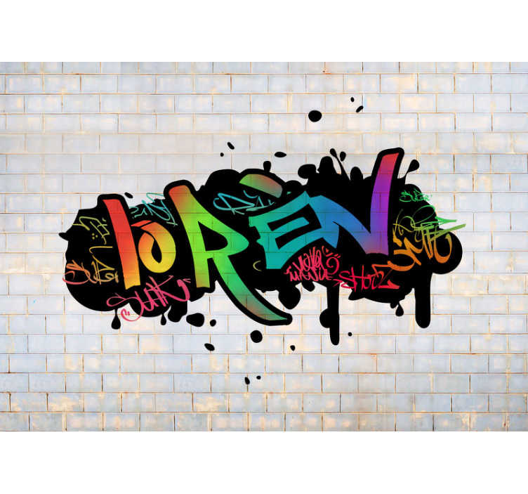 TenStickers. personalized color name graffiti Urban Art Wall Mural. Colorful photo wallpaper of a graffiti design on a stone wall. Decorate the empty walls with our urban art wall murals and you will like it!