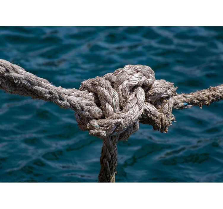 TenStickers. Seil Meer Fototapete. Das bild eines seils auf dem hintergrund des grenzenlosen meeres in einer schönen blauen farbe hilft ihnen, sich ruhiger und glücklicher zu fühlen. Dieses Tapete ist perfekt!