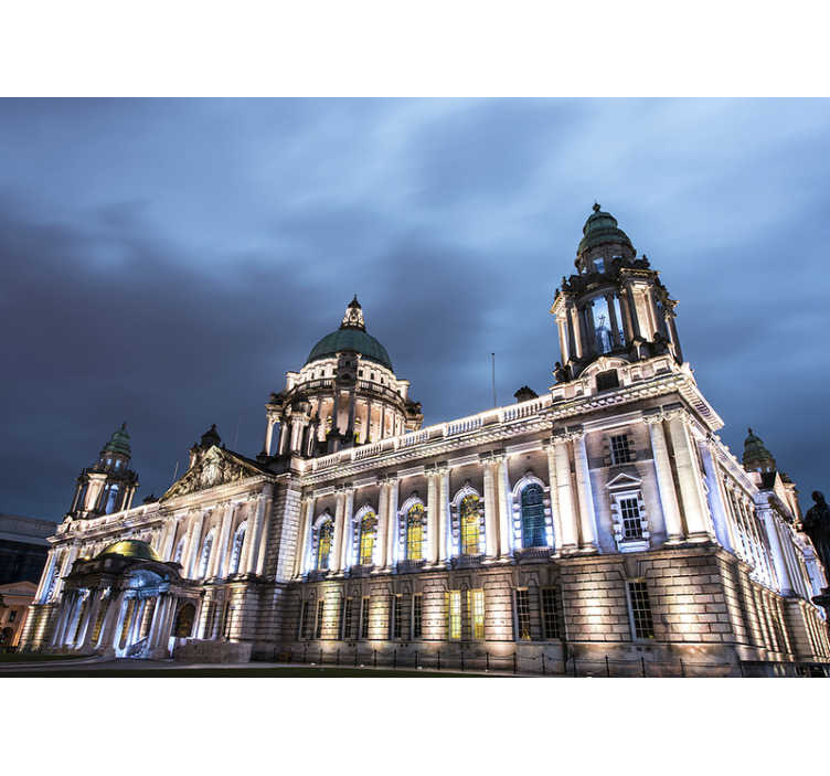 TenStickers. Belfast City Hall at night Wall Murals for Bedrooms. With this city wall mural of Belfast's City Hall you will be able to enjoy a unique view of that building at any time of the day.
