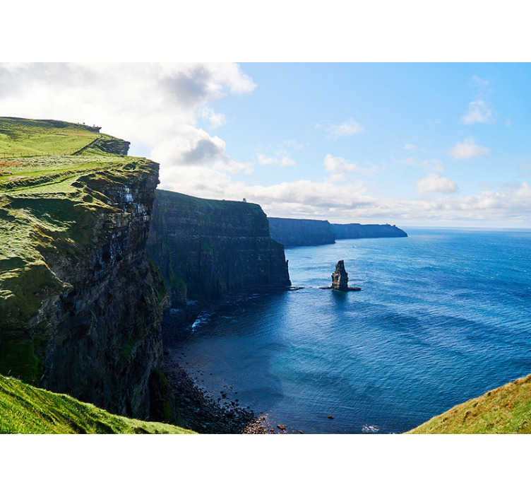 TenStickers. Cliffs Moher - Ireland landscape wall mural. A Hereby you get a beautiful photomural of the Cliffs Moher Landscape. Here is a beautiful clear blue water area, which would brighten up your home.