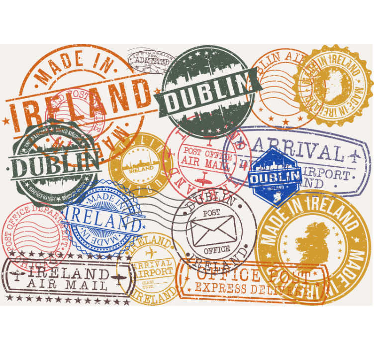 TenStickers. Ireland Stamps Wall Murals for Bedrooms. You love to travelYou love to travel or are just a fan of the beautiful country of Ireland? Our photo wallpaper with different Irish stamps is for you
