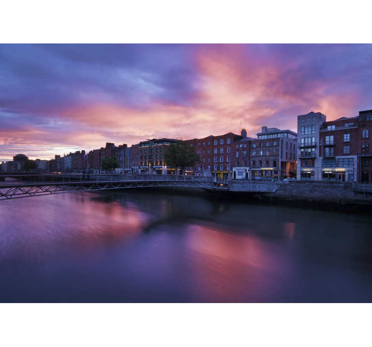 TenStickers. Night in Dublin Wall Murals for Bedrooms. This beautiful dark wall murals is always beautiful to see, Create this cozy feeling in your living room with this breathtaking design.