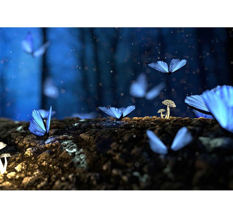 Tenstickers. Blå fjäril väggmålning tapet. Gillar du vackra fjärilar? Freden de släpper bara genom att se dem flyga? än du borde ha den här fototapeten!