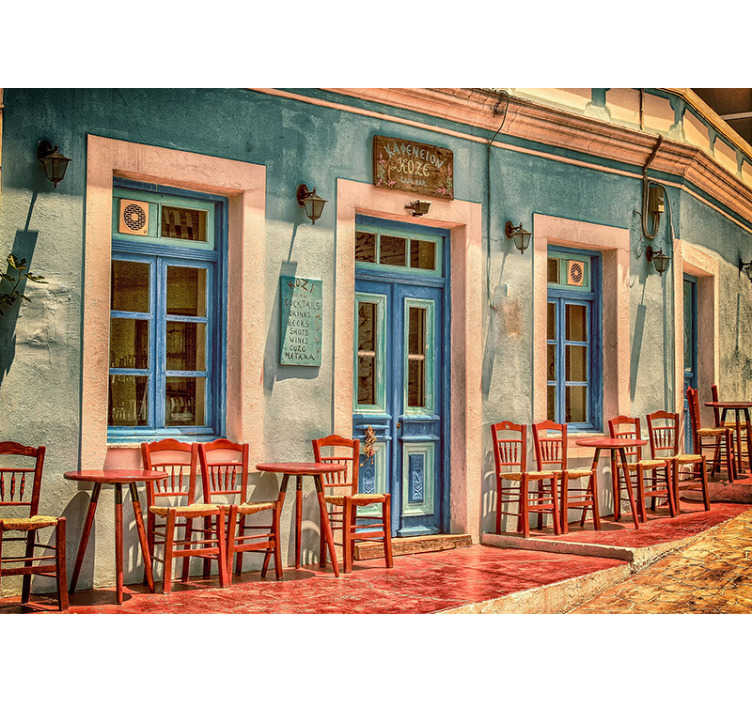 Tenstickers. Café utomhus vintage tapeter. Gillar du vintage-teman, som byggnader, kläder, miljöer? Då rekommenderar vi denna vintage karta väggmålning! Du kommer inte ångra detta!