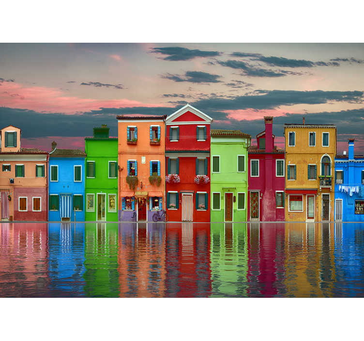 TenStickers. Row of coloured houses underwater mural wallpaper. On this large wall mural you get to see a nice view of a row of colored houses next to each other. If you like colorful houses then this is for you.