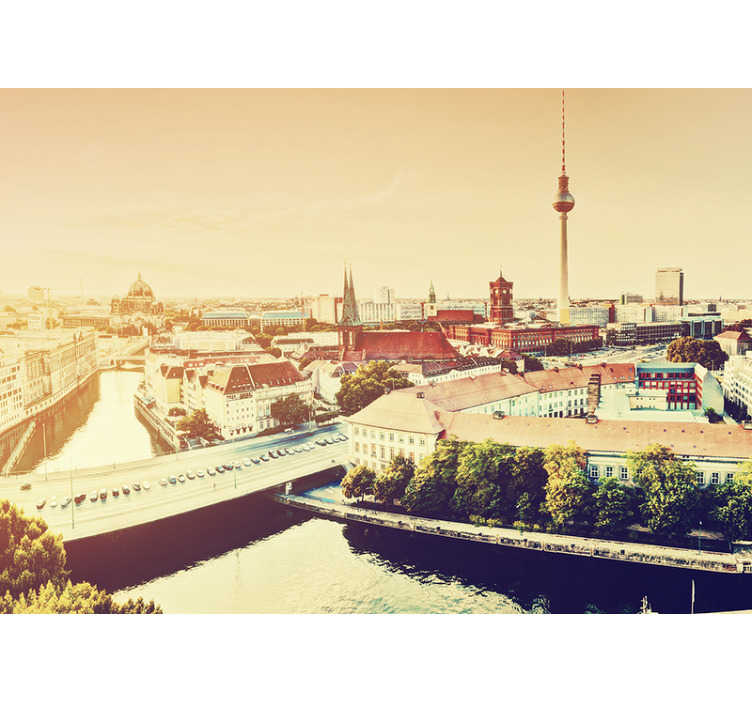 TenStickers. View on Berlin City wall mural. The capital of Germany is beautiful and can now be a part of your decoration at home! With our wall mural of Berlin you can create a nice atmosphere!