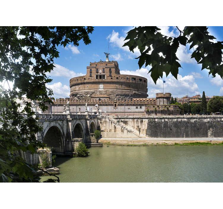 TenStickers. Fotomurale Roma Castel Sant'Angelo. Prendi una parte della bellissima roma a casa tua! Questo murale con il castello sant angelo in italia è perfetto per le tue pareti!