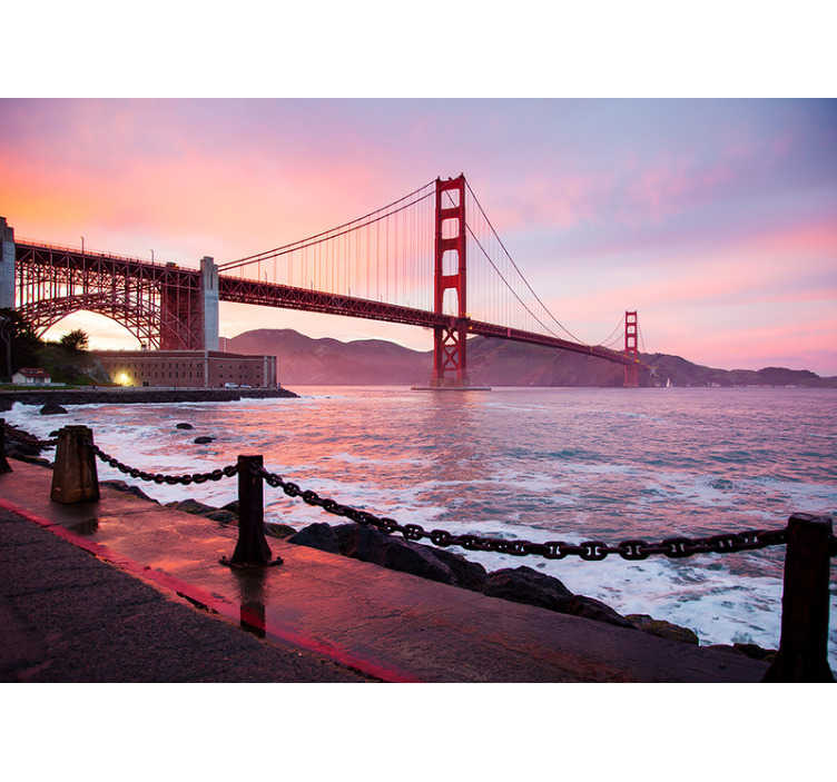 TenStickers. Pink Golden Gate mural wallpaper. Place this giant wall mural in the desired space where peace and quiet is very important to you and enjoy it! Contact us for further questions.