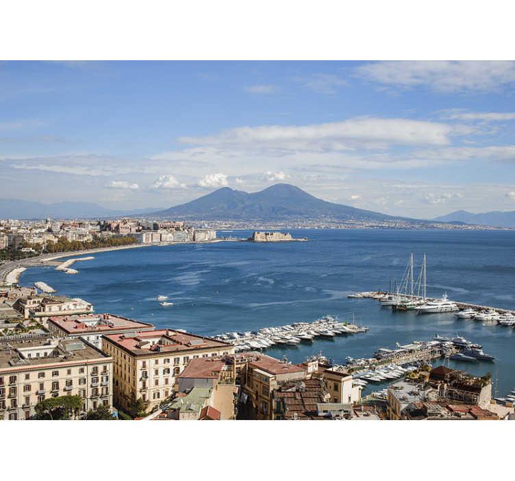 TenStickers. Carta da parati fotografica del golfo di Napoli. Una bellissima vista sullo Carta da parati della città della baia sulla costa occidentale dell'italia meridionale. Ideale se ami la costa, le barche e la superficie dell'acqua.