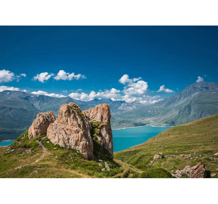 TenStickers. Lake Mont Cenis landscape wall mural. In the distance you can enjoy the beautiful blue sky, the clouds and the mountain areas. This is the perfect scenery photo mural to take in your home!