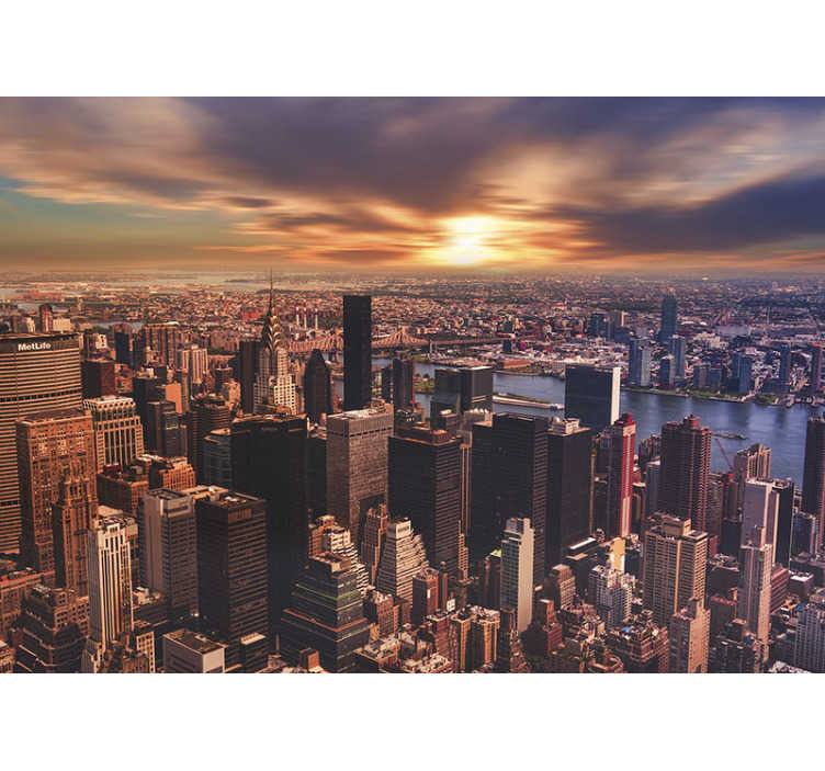 TenStickers. Newyork high buildings view skyline wall mural. This design is a handful to be seen only from your space. The skyscape in its fiery colors makes you feel very relaxed in the desired space.