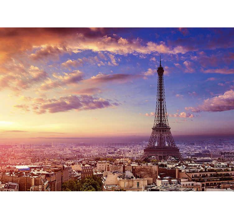 TenStickers. 巴黎空中城市壁画. 从空中欣赏巴黎埃菲尔铁塔的壮丽景色。这张巴黎地图墙壁画只有从您的空间才能看到。