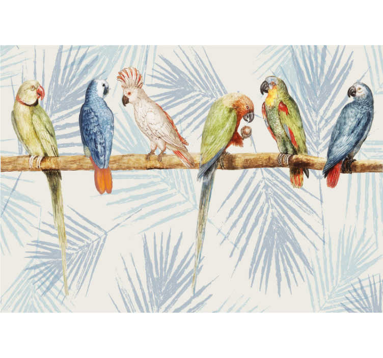 TenStickers. Pastel colored parrots mural wallpaper. Make your home a better one with this beautiful wall mural of coloured parrots on a tree trunk next to each other design.