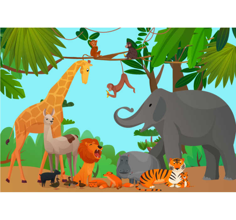 TenStickers. Jungle with peaceful animals mural wallpaper. A nice children bedroom animal wall mural to place in your children's room. Instructions on how to place them can be found on the website.