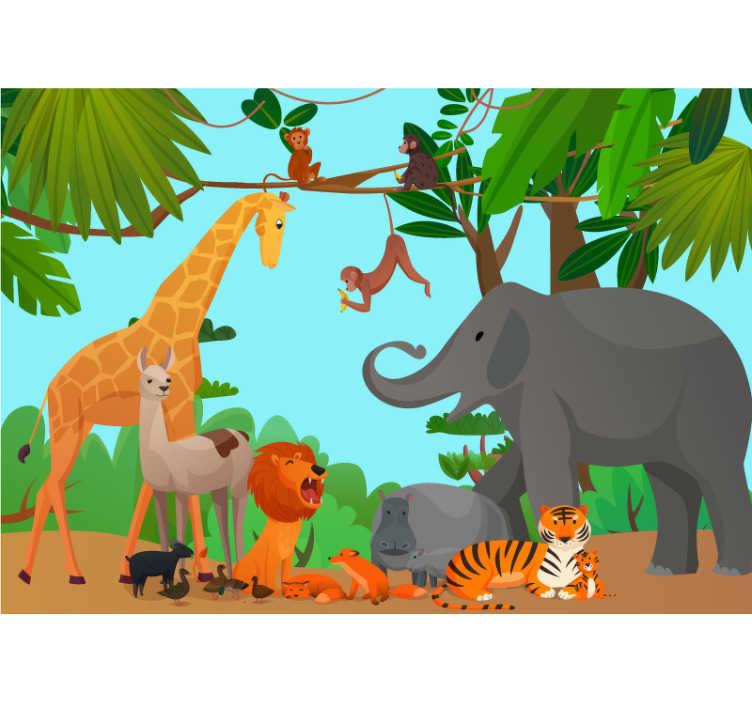 TenStickers. 丛林与和平动物壁画壁纸. 漂亮的儿童卧室动物墙壁画,放置在您的儿童房中。有关如何放置它们的说明,请参见网站。