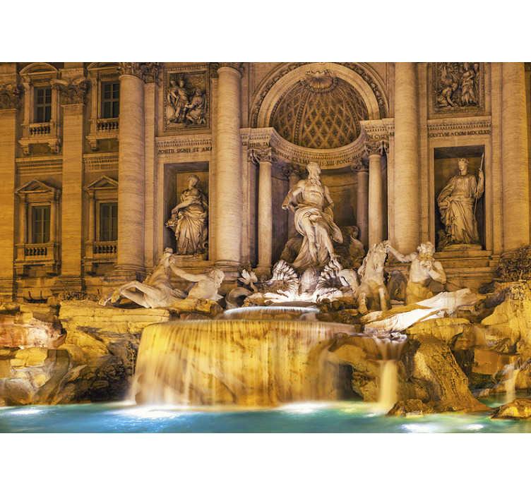 TenStickers. Carta da parati murale fontana di trevi. Porta a casa tua una statua della fontana di trevi della città italiana di roma per realizzare le tue mura. Puoi avere questo prodotto nella dimensione desiderata