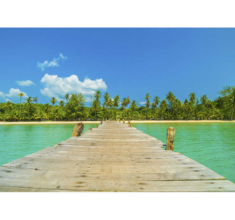 TenStickers. Tropical View landscape wall mural. Bringi the tropical warm feeling sea photo mural into your home with this photowall mural with bright colors. It's very easy to apply