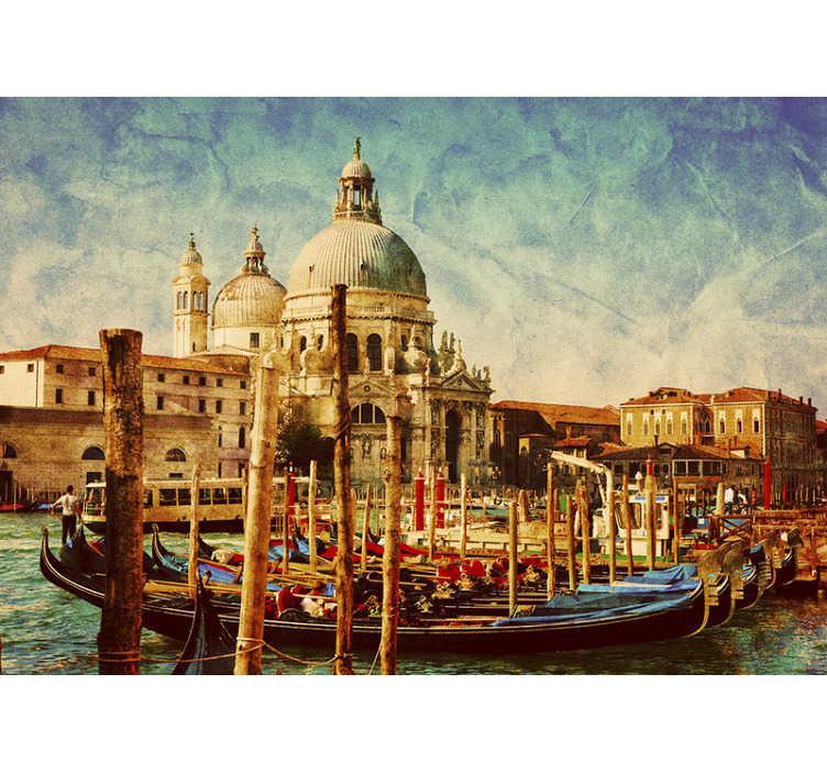TenStickers. Carta da parati murale vintage venezia. Ti piace la città italiana di venezia? Allora abbiamo questa bellissima foto di Carta da parati della città che possiamo offrirti. Lo amerai!