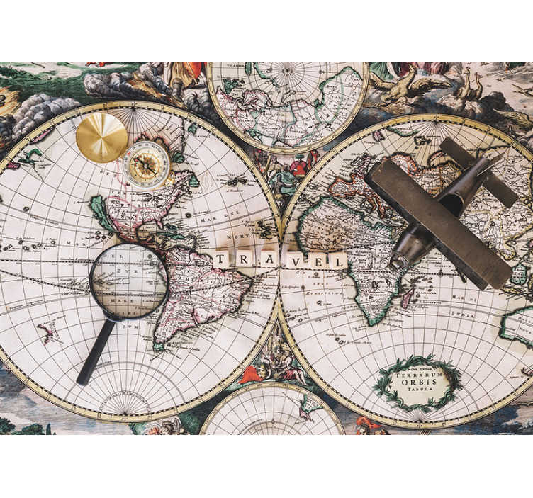 TenStickers. Worldmap vintage wall mural. A large wall mural with a vintage look and surrounded by signs from history. Don't wait any longer and decorate your house with this great design!