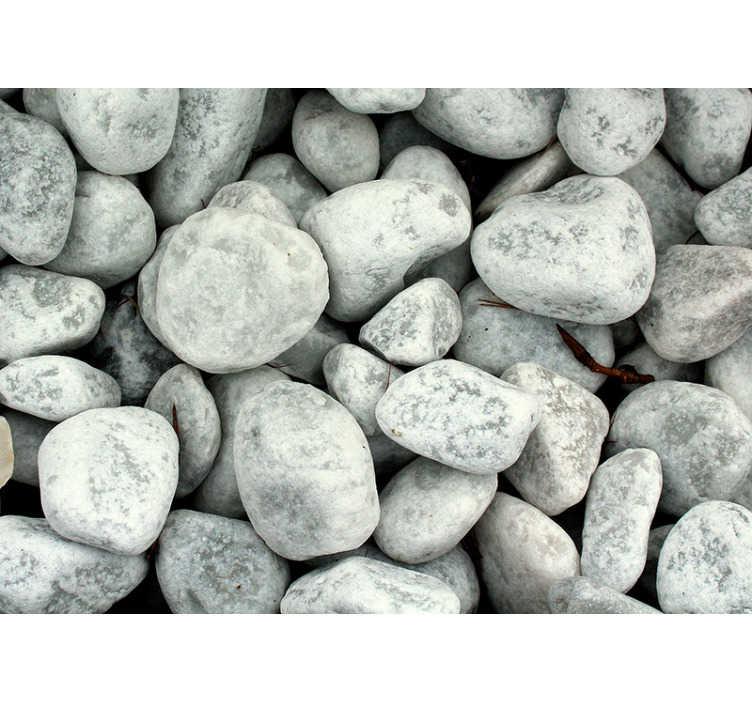 TenVinilo. Papel mural pared de piedras blancas. Maravilloso fotomural de naturaleza con una imagen de piedras de color gris claro que hará que sus espacios sean mucho más hermosos ¡Envío gratuito!