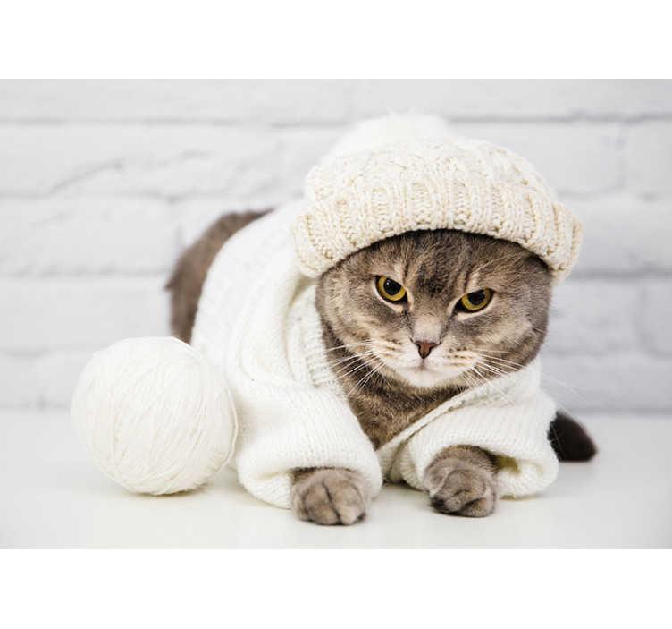 TenVinilo. Papel mural pared animales gato bonito vestido. Este fotomural pared de gato gris se puede colocar en cualquier habitación para conseguir una decoración única ¡Envío gratuito!