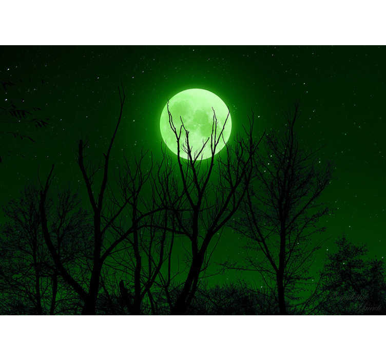 TenStickers. Green Moon landscape wall mural. Magnificent landscapes wall mural with a photo of the night sky with a majestic green moon illuminating the forest, perfect for your living room.