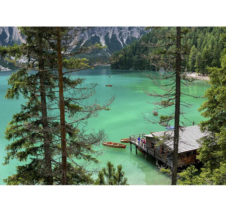 TenVinilo. Papel mural pared lago aguas cristalinas. Deje atrás las paredes pintadas aburridas y brinde armonía y alegría a sus paredes con este sublime fotomural de lago ¡Envío gratuito!