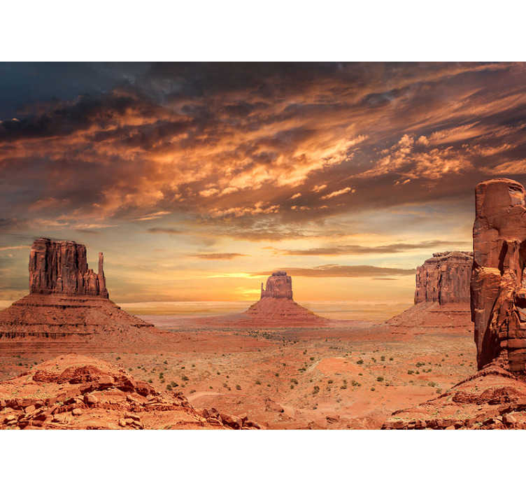 TenStickers. Mountains on the Desert landscape wall mural. With this photo wall mural of the Mountains on the Desert in the house, you can transform any space and bring a desert atmosphere in the house.