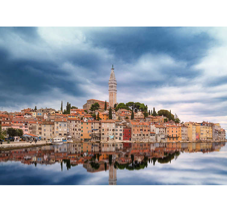 TenStickers. Rovinj Skyline mural wallpaper. A beautiful mural wallpaper with a view of the Rovinj Skyline, which is located in Istria, Croatia. Make your home better with this beautiful design.