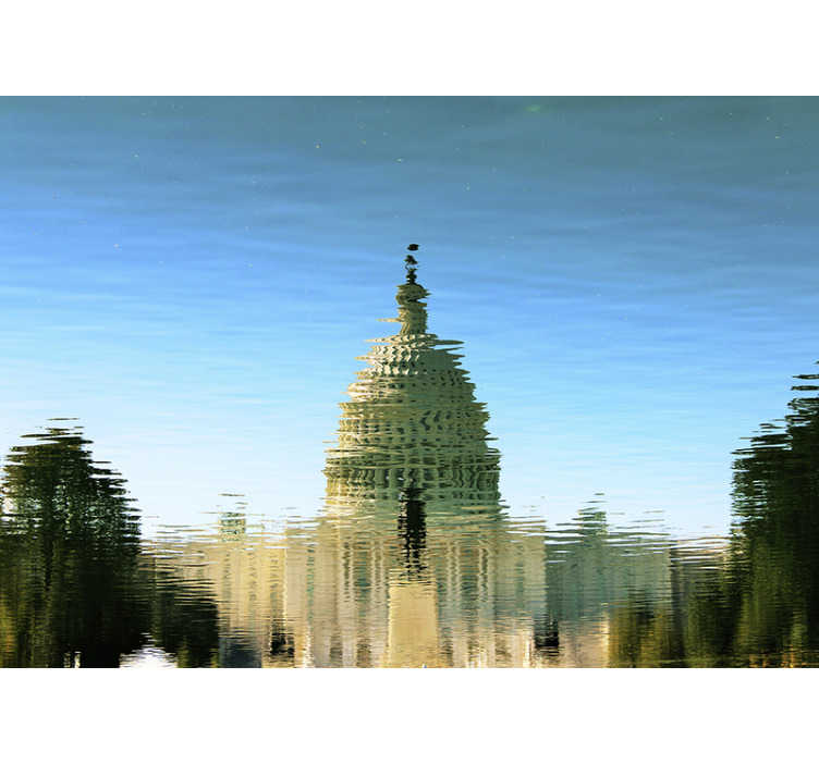 TenStickers. Capitol water reflection mural wallpaper. Order this giant wall mural with capitol seen in the reflection of water that will make you find peace and calm. High quality image!