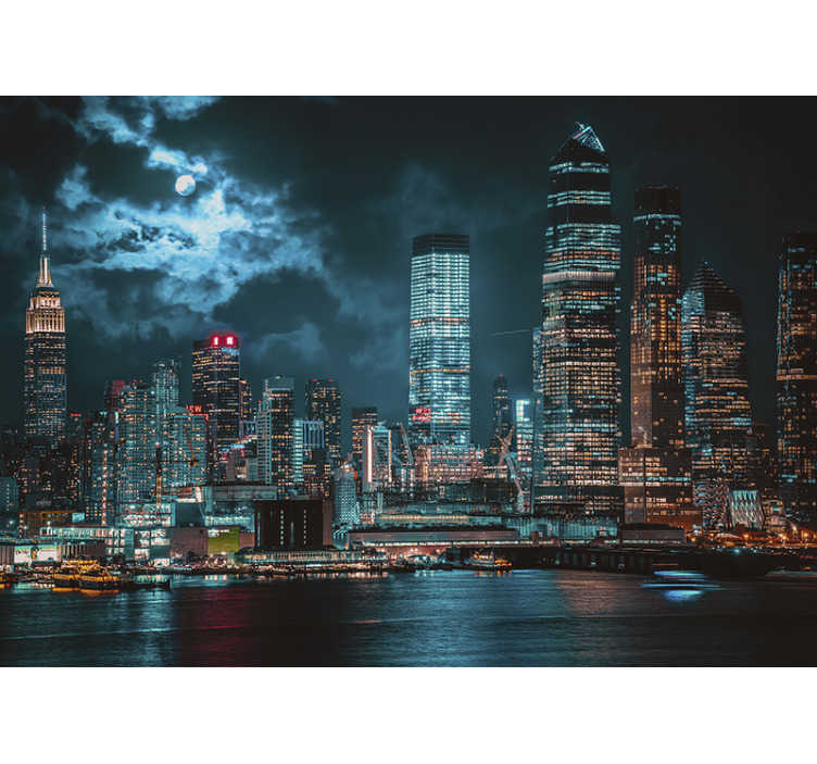 TenStickers. Cloudy night at NY  wall mural. Look at this beautiful photo mural of the New York high buildings that gives a beautiful look in the evening. High quality material.