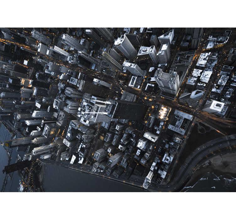 TenVinilo. Papel mural ciudad vista aérea rascacielos. Nuestro moderno fotomural ciudad de rascacielos será perfecto para decorar tu casa de forma fácil y exclusiva ¡Fácil de colocar!