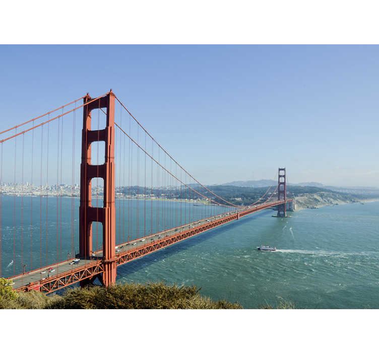 TenStickers. Golden Gate Bridge mural wallpaper. This Golden Gate Bridge will give a beautiful and unique finish to the walls on which you will want to place this Golden Gate Bridge photo wall mural.