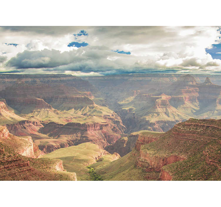TenStickers. Gran kanyon manzara duvar resmi. Bu gran kanyon manzara fotoğrafı duvar resmi, güneşli bir günde güzel bir şekilde tasvir edilen tatlıların güzel bir havadan görünümünü verir.