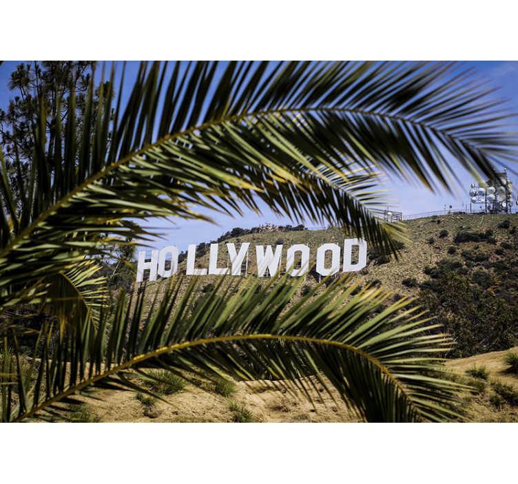 Tenstickers. Hollywood merkki ja puiden seinämaalaus. Tämä hollywood-merkki-taustakuva on erittäin korkealaatuinen ja mattapintainen. Se ei heijasta valoa. Valokuvataustakuvasi on helppo levittää.