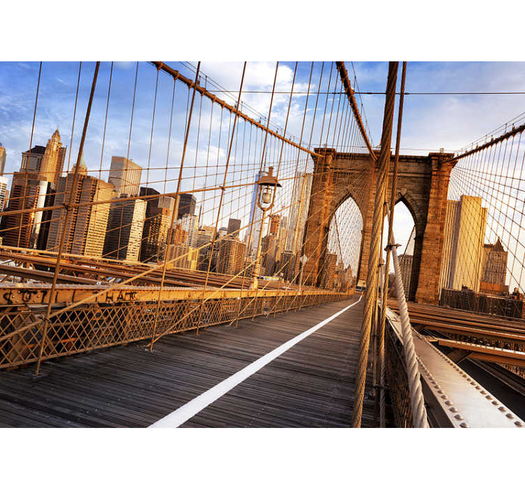 TenStickers. Murale all'interno del ponte di brooklyn new york. Con questo originale murale all'interno del ponte di brooklyn bridge di new york, puoi trasformare qualsiasi stanza in uno spazio speciale dove vorrai trascorrere ore.
