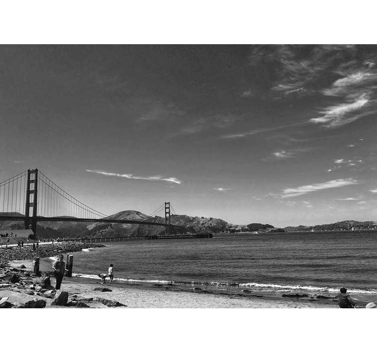 TenStickers. Golden gate gray scale wall mural. Highly realistic scenery photo wallpaper showing Golden Gate in a grey scale is a great choice for the decoration of your living room or bedroom.