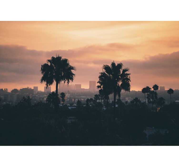 TenStickers. Wall mural Los Angeles sunset. Spectacular city wall mural with sunset in Los Angeles. This is the fastest and cheapest way to redecorate your living room or bedroom !