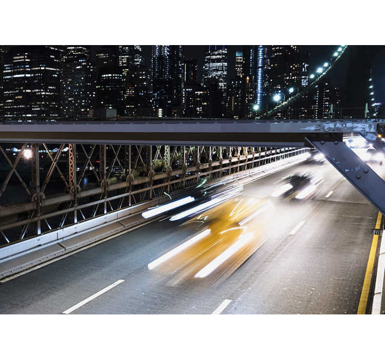 TenStickers. Skyline wall mural New York bridge and cars. Lively New York skyline wall mural presenting this city during the night. High quality image without any pixels. Order it now!