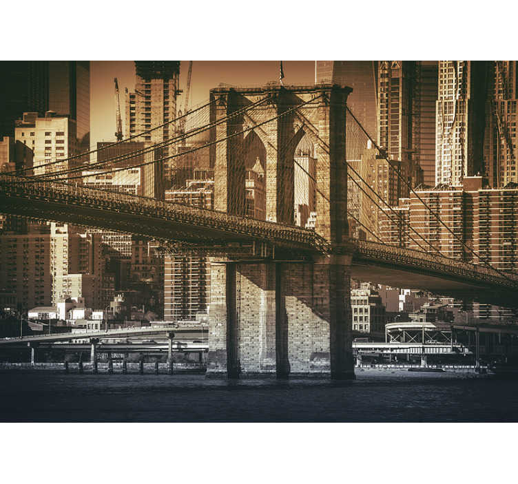 TenStickers. stickers photo du pont de new york. Ici, vous obtenez la vue d'un papier peint photo du pont de new york dans une vue obsolète. Ajoutez un peu d'histoire de la ville de renommée mondiale à votre salon.