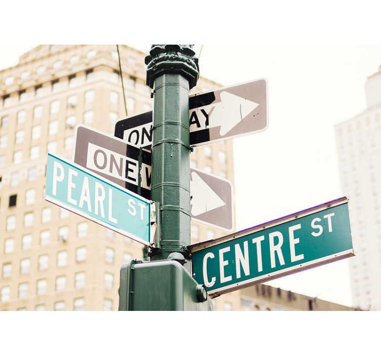 TenStickers. Papier peint panneau routier new york. Avec cette murale de panneau de signalisation de new york, vous pouvez renouveler la pièce souhaitée et lui donner un nouveau look. Ne vous inquiétez pas si vous n'avez jamais fait de stickers photo auparavant.