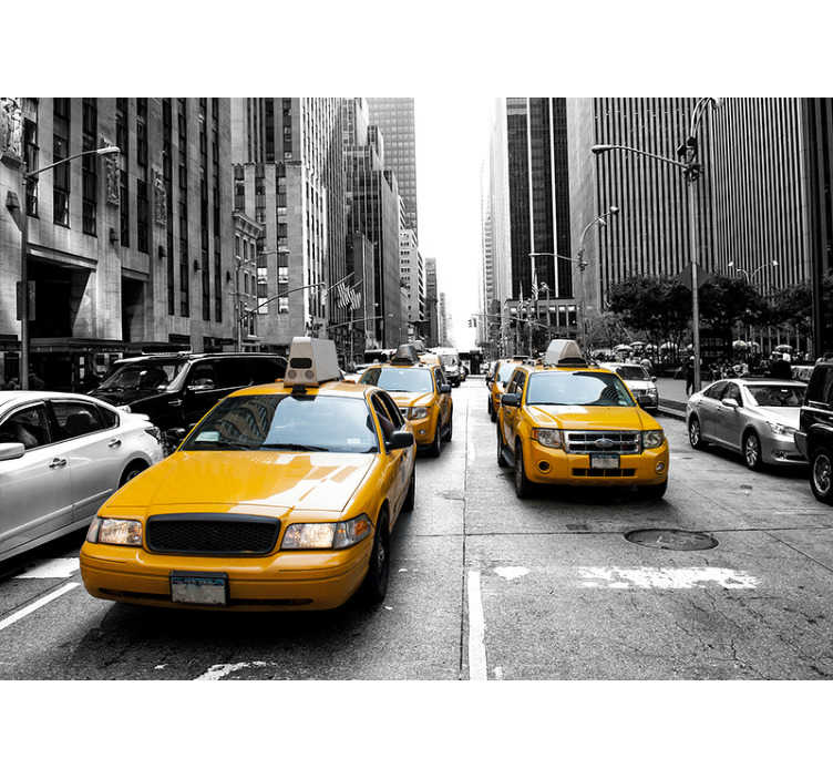 TenStickers. New York Taxi New York skyline wall mural. Travel to the crowded streets of New York without leaving the comfort of your home with this fantastic New York wall mural.
